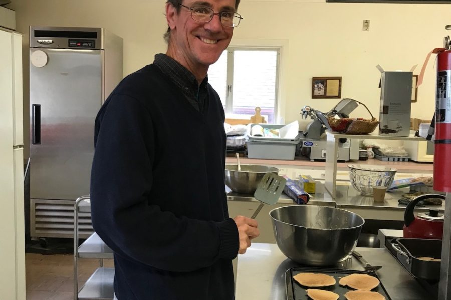 Steve mans the griddle at the St. Mary's Pancake Breakfast, October 14, 1028