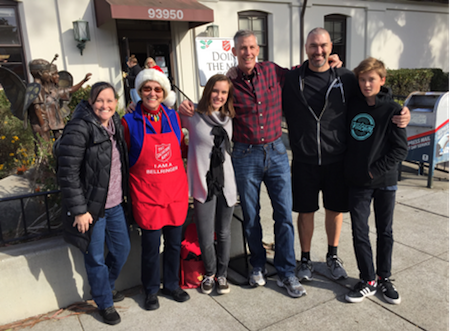 Onnette, her niece Samantha and family, as Salvation Army bell ringers in 2017
