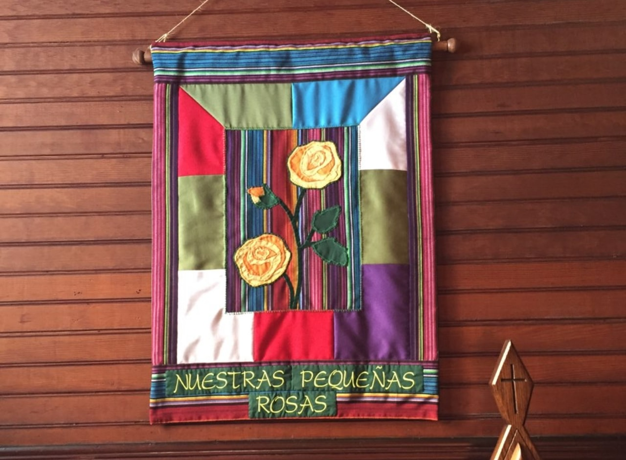 """Our Little Roses"" Banner inside St. Mary's Episcopal Church in Pacific Grove"