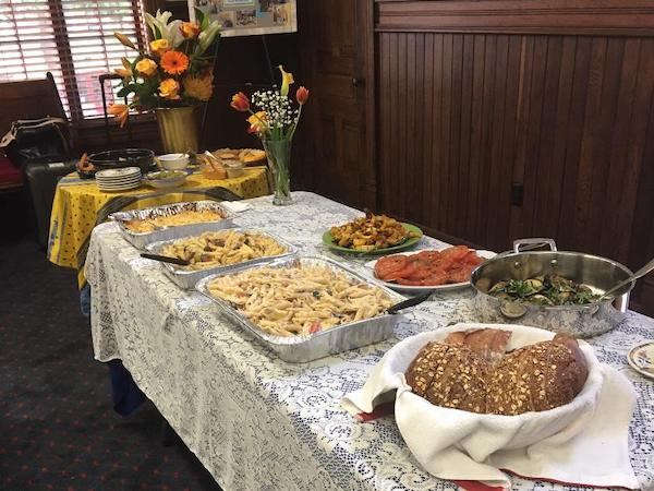 Dinner buffet laid out for St. Mary's I-HELP for Women dinner and lodging.