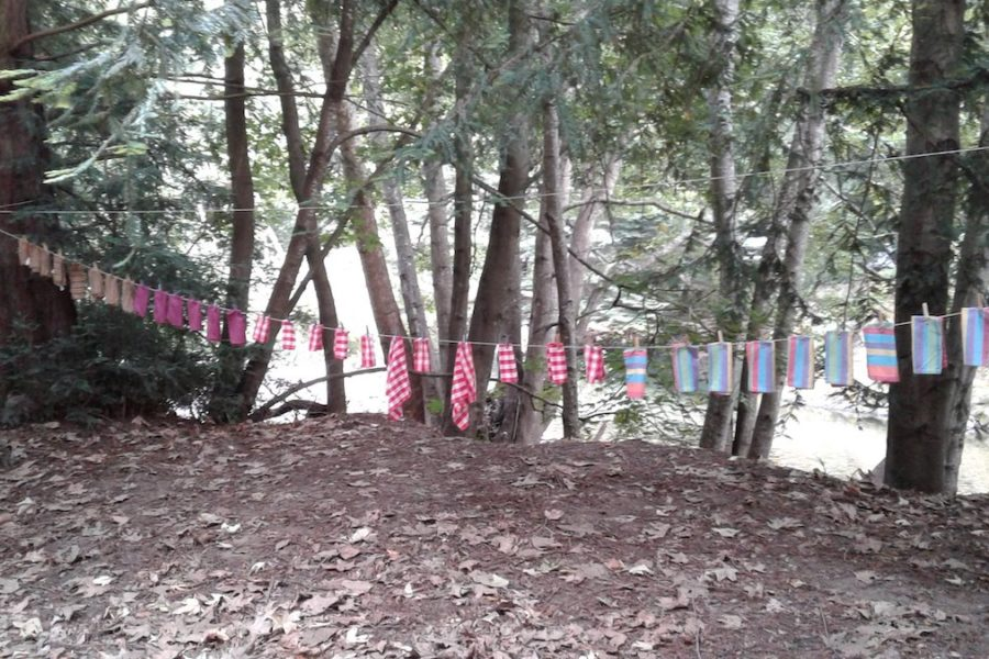 Napkins line drying at St. Mary's Parish Camp 2019