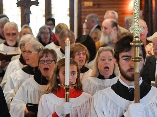 St. Mary's By-The-Sea choir, singing at Sunday morning service