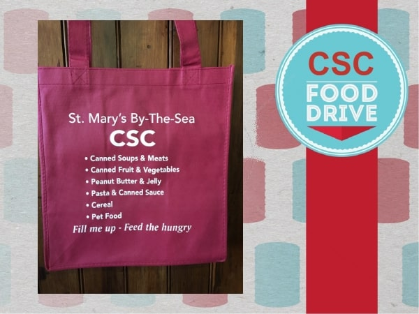 Reusable bag for CSC Food Drive at St. Mary's Church