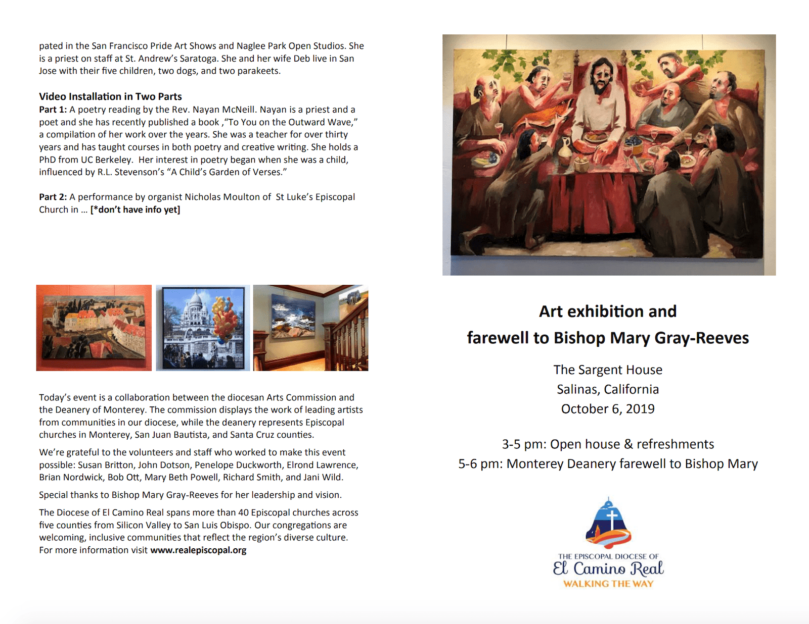 Join us for an Art Exhibition with a special farewell reception for Bishop Mary on Sunday, October 6, 2019 at the Sargent House in Downtown Salinas, CA