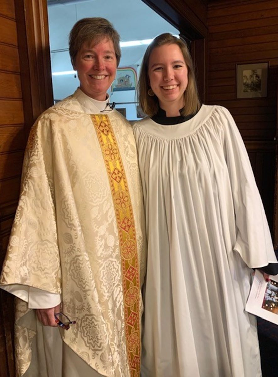 2019 Christmas Services at St. Mary's by-the-sea Pacific Grove, Rev. Kristine Johnson and her daughter.