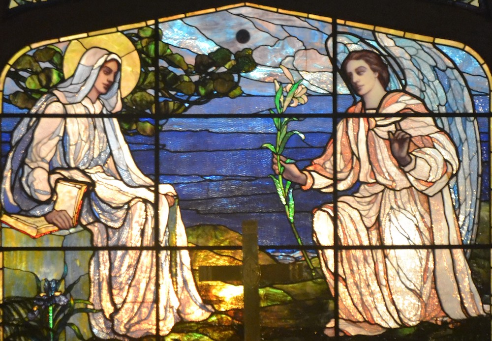 The Feast of the Annunciation stained glass window at St. Mary's By-the-Sea in Pacific Grove, CA