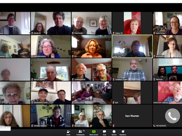 We're conducting Zoom Sunday services in addition to coffee hour and are seeing a growing number of participants each week