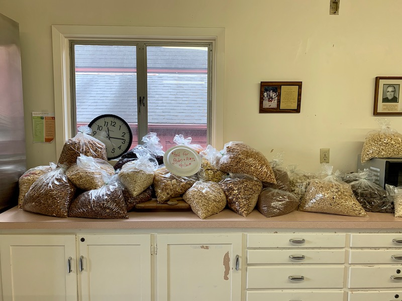 Food items donated in bulk to the St. Mary's food pantry. Photo courtesy of Zach Goodwin.