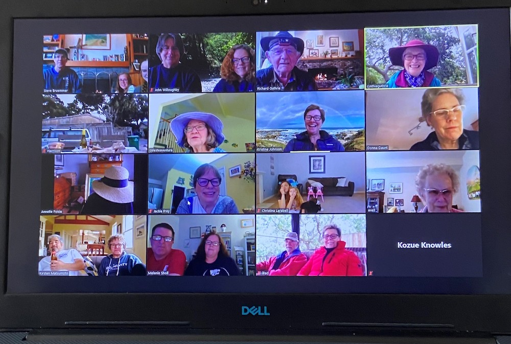 the organizers of Parish Camp, the Bruemmer Family, hosted a Zoom event on 6/20/2020.  Thirty congregants joined at 5:30  -  some had fires going, others were actually outdoors, some had wine and cheese, and we all had smiles.