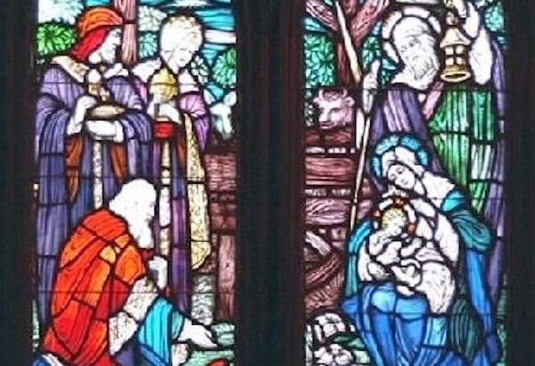 """""""Visit of the Magi"""" stained glass window in St. Mary's By-The-Sea, Pacific Grove, CA."""
