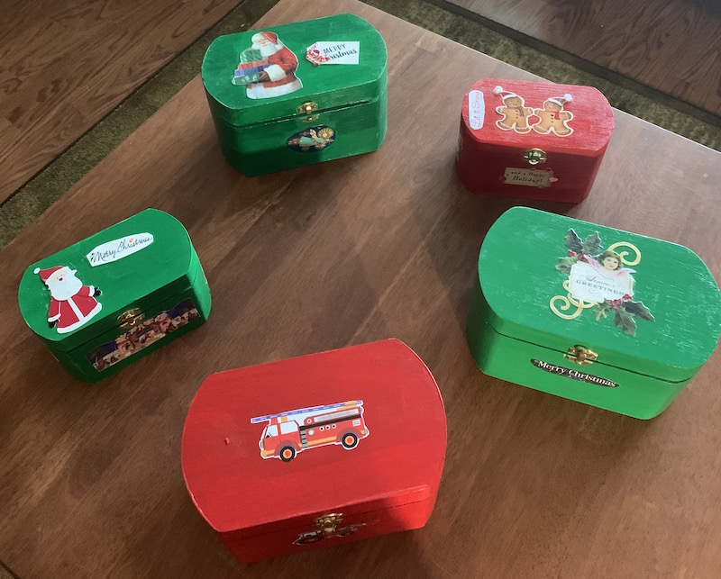 """Made with love: """"I made the boxes tailored to the interests of various family members for Christmas and filled them with things that I knew would make them happy and pass some time."""" – Kathy Larabell"""