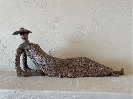 Fran Foote - lady reclining clay figurine