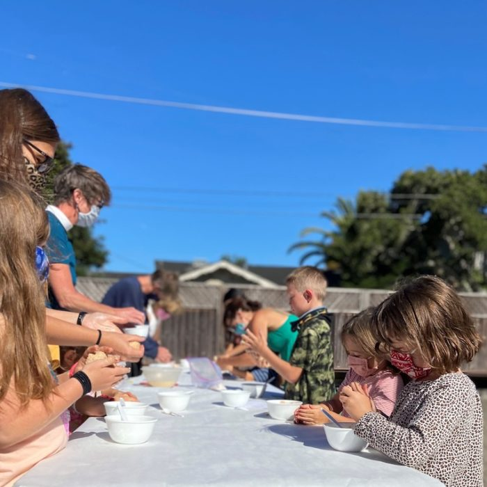 Family Church - We gathered in the courtyard on Sunday August 1 st to make bread with the children.